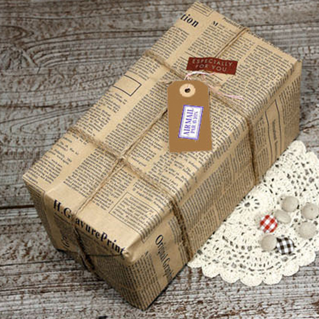 10pcs Newspaper Wrap Paper Double Sided Party Gift Flower Wrap Decor Kraft Paper Event Party Supplies