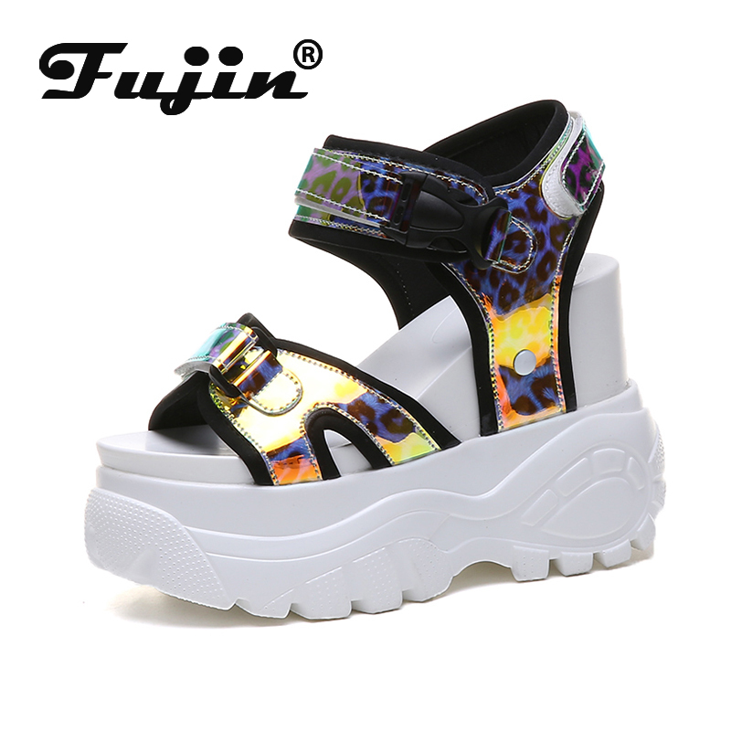 Fujin Sandals Female Beach-Shoes Thick-Soled Fashion Summer Students Wild Casual Muffin-Bottom