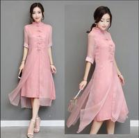 2018 New Ao Dai cheongsam folk style Vietnam Chiffon Women Chinese Traditional Dress Summer