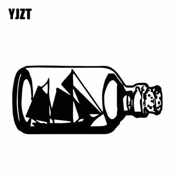 YJZT 15,8 CM * 7,2 CM botellas de vidrio barco ocultar deslumbrante vinilo calcomanía arte coche pegatina ola delicada negro/ de plata C27-0425