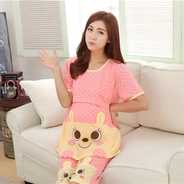 Two-Piece Pregnant Women Homewear Sweet O-Neck Polka Dot Maternity Clothes For Summer Autumn Pink Asian\Size L-2XL
