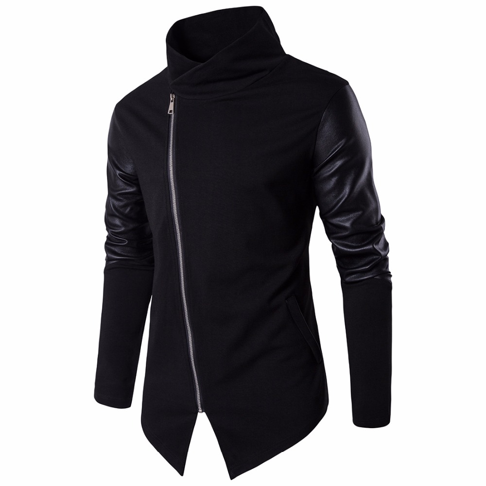 2017 Newest Men Jackets Fashion Autumn Winter Coat PU Leather Long Sleeve Turtleneck Slim Fit Casual Men Clothing Plus Size