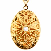 New Vintage Oval Locket Hollow Out Pendants Jewelry 24k Gold Plating Put In Solid Perfume Or