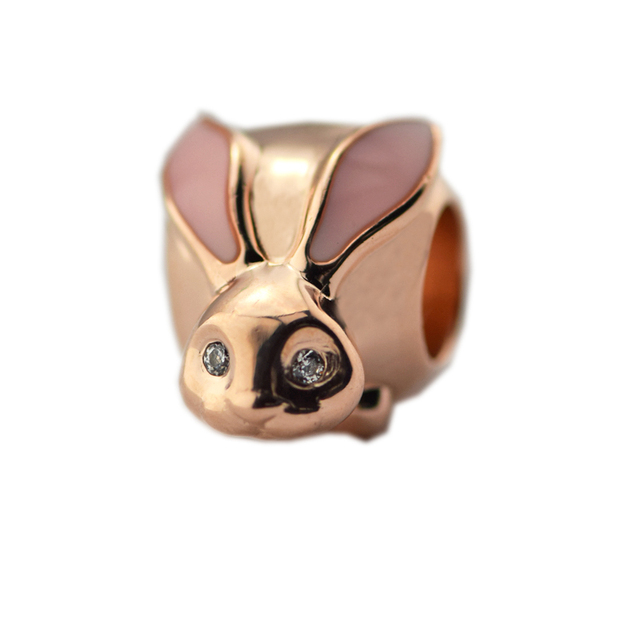 Spring New Fits Pandora Bracelets Charms 925 Sterling Silver Cute Bunny Rose Gold enamel beads for Women Jewelry DIY Accessories