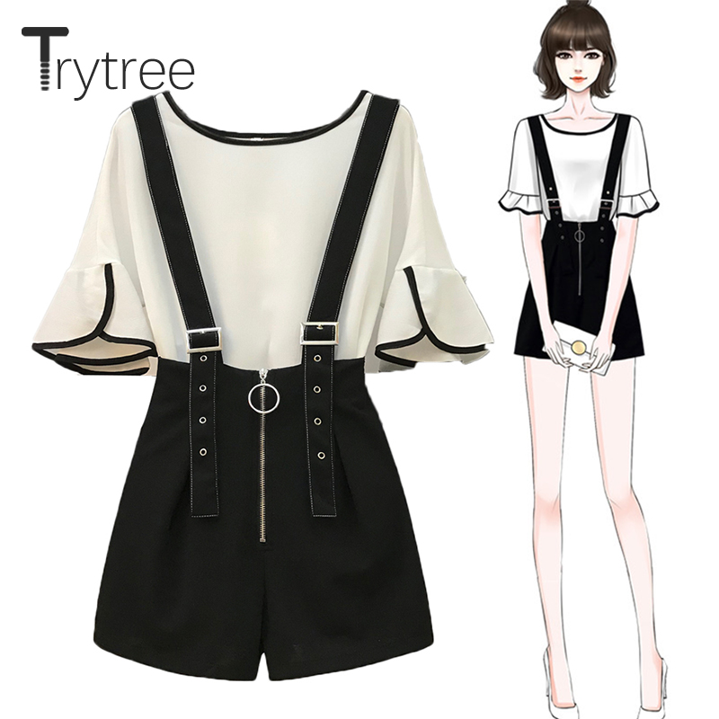 Trytree Summer Women Two Piece Set Casual O-Neck Flare Sleeve Top + Shorts Zipper Fly Strap Shorts Suit Office Lady 2 Piece Set