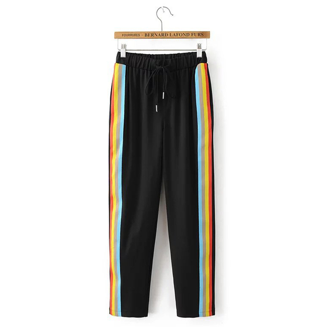 9b9c007c8e TANGNEST Side Rainbow Stripped Pants Women Autumn Winter New Arrival  Fashion Active Knitted Long Wide Leg Pant Trousers WKX413