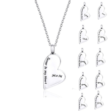 Personalized Custom Stainless Steel Heart Urn Necklace Cremation Pendant Jewelry Forever in My Keepsake Memorial Mom Dad