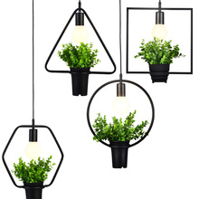 Creative personality retro industrial plants chandelier iron bar Florist store window balcony decorative lamp
