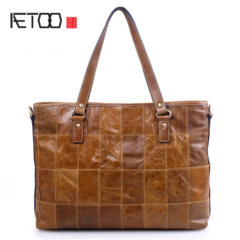 AETOO New Europe and the United States fashion leather handbags large package women cowhide shoulder diagonal package large capa europe and the united states classic sheepskin checkered chain tide package leather handbags fashion casual shoulder messenger b