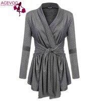 ACEVOG Mujeres Cardigan Suéter Tops Dobladillo Asimétrico Wrap Lace Up Con Cinturón delgado Casual Blusa Blusas Camisa Con Cinturón de 10 Colores 6 Tamaño