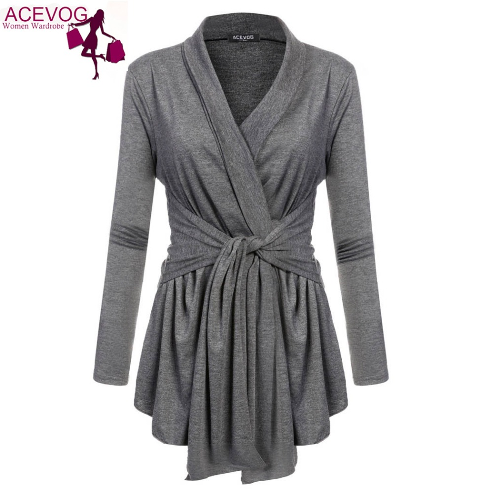 ACEVOG Women Cardigan Tops Sweater Asymmetric Hem Wrap Lace Up Belted Slim Casual Blouse Blusas Shirt With Belt 10 Colors 6 Size