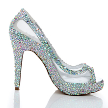 Sparkling Spring Summer Women High Heels Rhinestone Glitter AB Color Crystal Wedding Shoes Peep Toe Mesh Lace Bridal Shoes