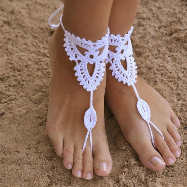 Favoriete Bohemen stijl gehaakte enkelbanden voor vrouwen hand geweven &WZ56