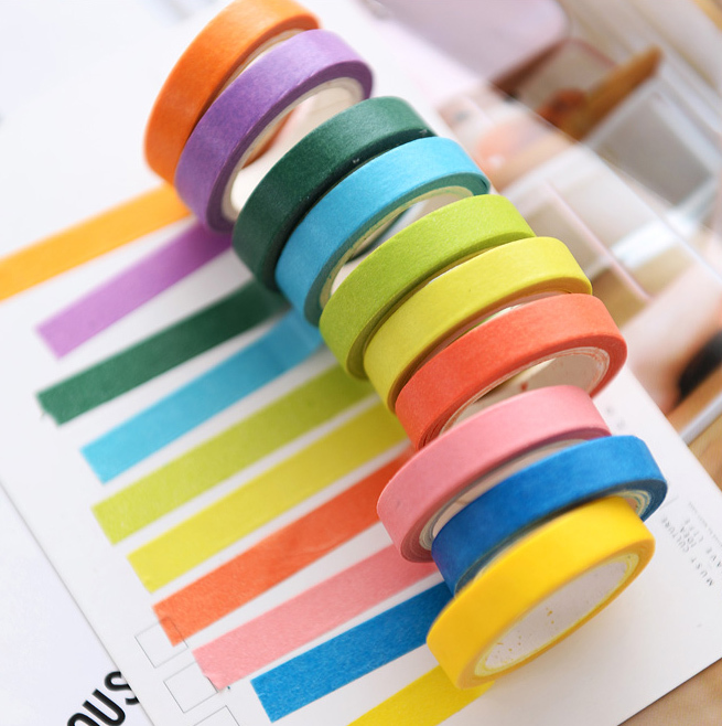 Купить с кэшбэком BLINGIRD 10pcs/lot Candy Color Basics Very Fine Adhesive Washi Tape Small Fresh Colour Decoration Can Write Japanese Stationery