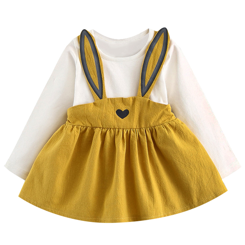 Menoea Girls Clothing Sets 2018 New Style Spring Newborn Cute Rabbit Ears Printing Princess Dress Baby Girls Long-Sleeve Dresses