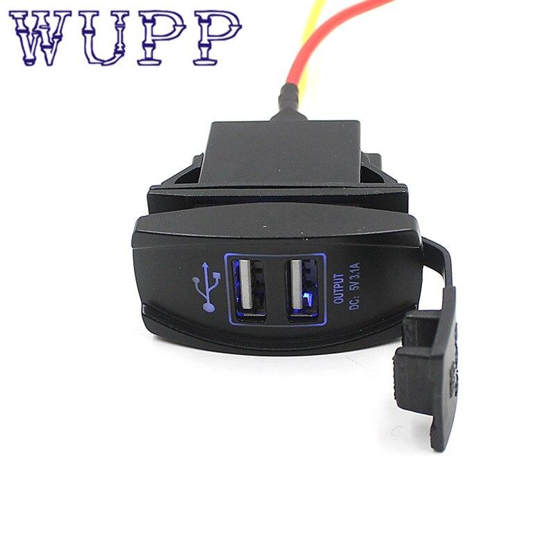 Car charger 12V 24V Car Auto Boat Accessory Dual USB Charger Power Adapter LED Outlet Dual USB charger may23