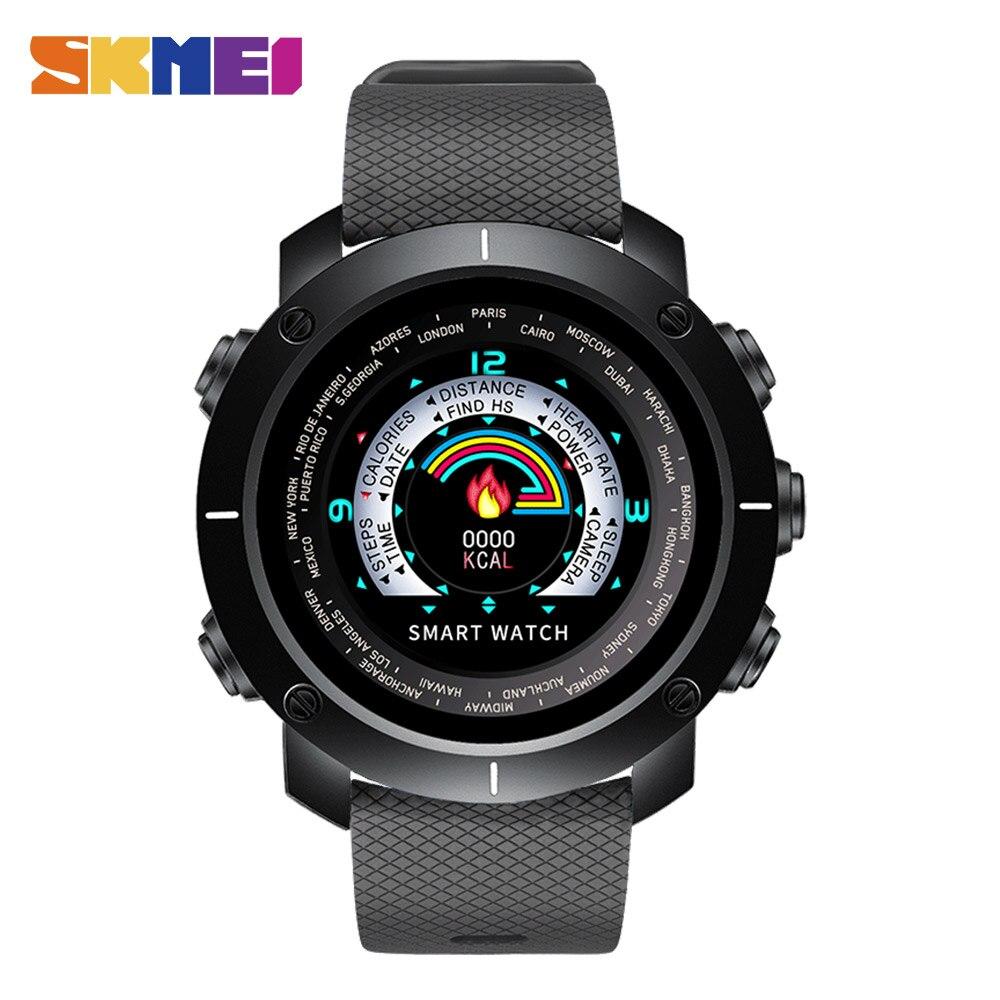 SKMEI Смарт часы шагомер Цифровой повседневное человек водонепроницаемый удаленного камера сердечного ритма мониторы женские наручные