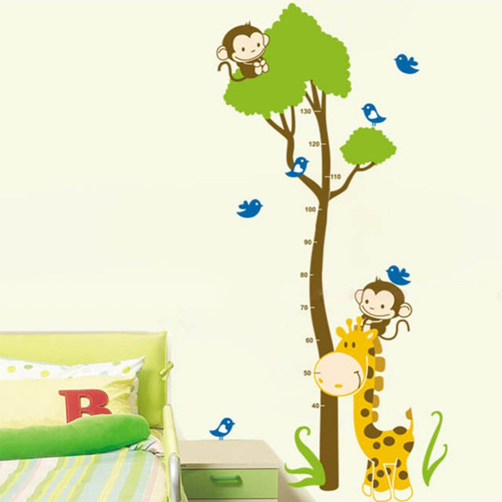 2015 New Creative Monkey Giraffe Height Stickers Bedroom Living Room  Bathroom Glass Decal Door Stickers Wall Stickers Home Decor