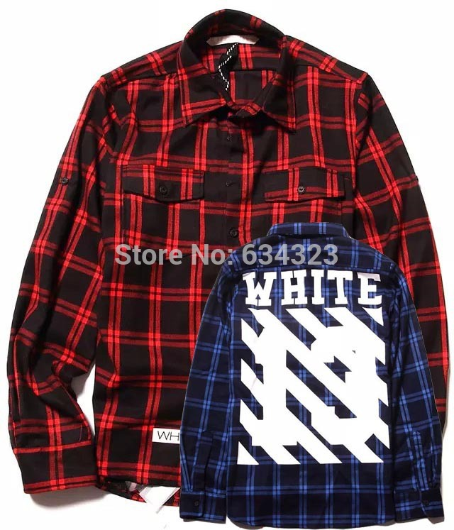 e870128e1f40 OFF-WHITE c o Virgil Abolh Brand Plaid Check Flannel Shirt Men Casual  Tartan Shirts Off white pyrex 4 Colors