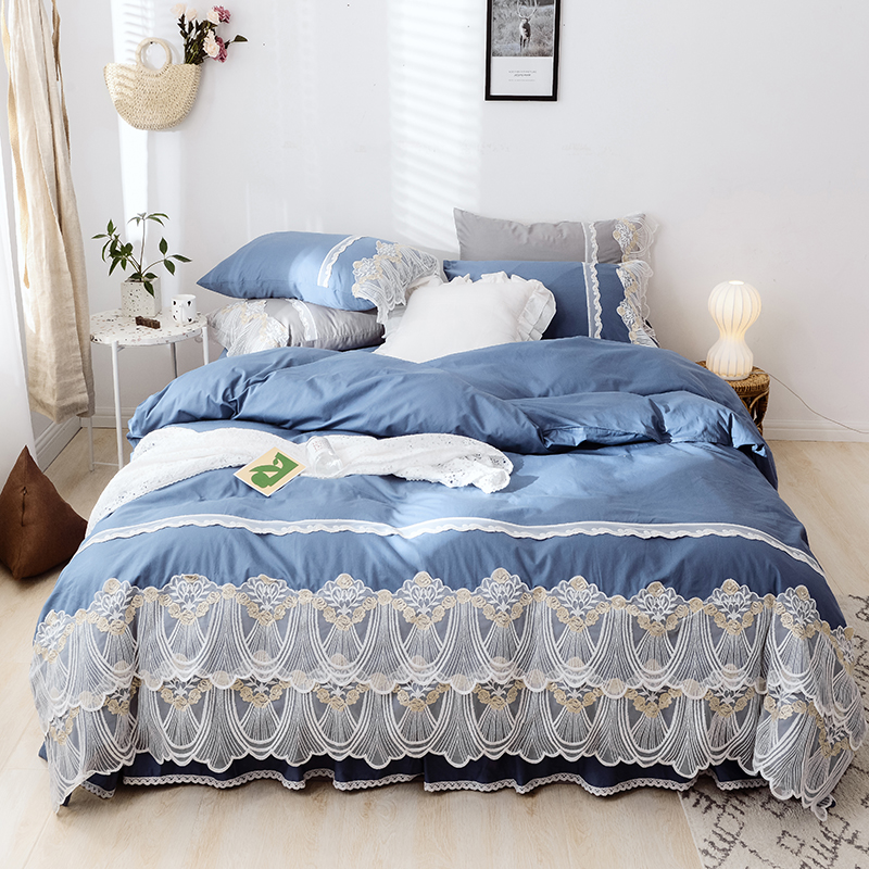 Cotton Lace Princess Bed set Luxury Wedding Bedding Sets Queen King Bedlinen Sheet Popular Duvet Cover Set Bed Skirt PillowcasesCotton Lace Princess Bed set Luxury Wedding Bedding Sets Queen King Bedlinen Sheet Popular Duvet Cover Set Bed Skirt Pillowcases