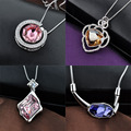 Nandudu High Quality Crystal Pendant Necklace Sweater Chain Women Girl Gift  Gold Plated OS11-OS15