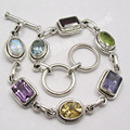 Silver MULTISTONES COLORFUL Gem HANDMADE Bracelet BIRTHDAY PRESENT