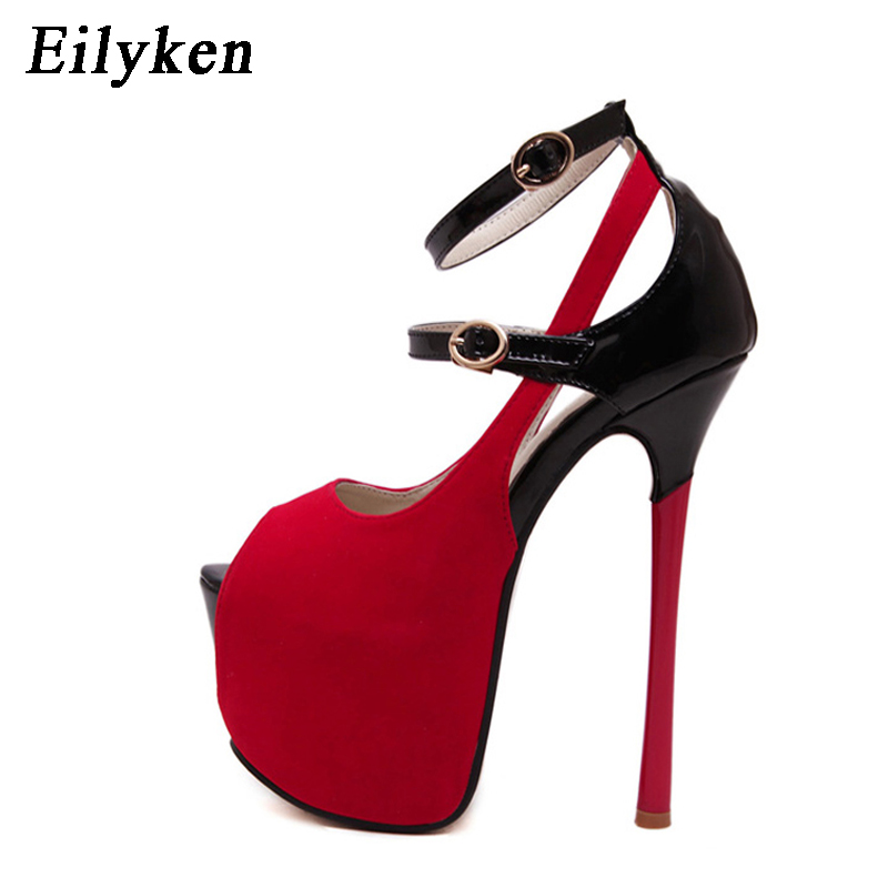 a0a9691567f7a Eilyken D été Femmes Sandales Noir Plate Forme Gladiateur Sandales Femmes  Sexy 16 cm Mince Haute talon Sandales Taille 35 40 dans Femmes de Sandales  de ...