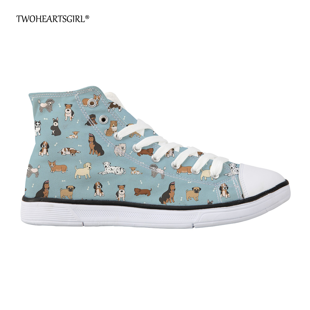 Twoheartsgirl Canvas Shoes Women Casual Dog High Top Students Anti-Slip Classic Light Blue Flat Shoes Women Vulcanize Shoes e lov women casual walking shoes graffiti aries horoscope canvas shoe low top flat oxford shoes for couples lovers