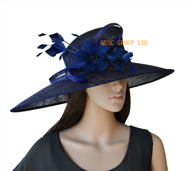 4a8ad9d0d32 NEW Navy blue Large brim Sinamay women s hat Kentucky Derby Hats Ladies Hat  for Ascot Races