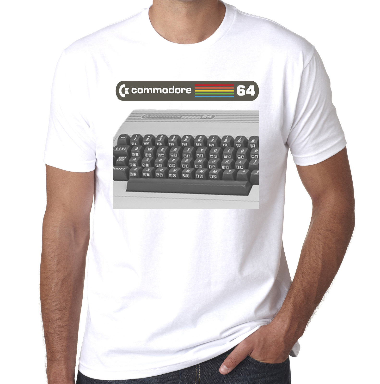 Commodore 64 vintage 80 s компьютер pc ИТ crowd geek печатных футболку