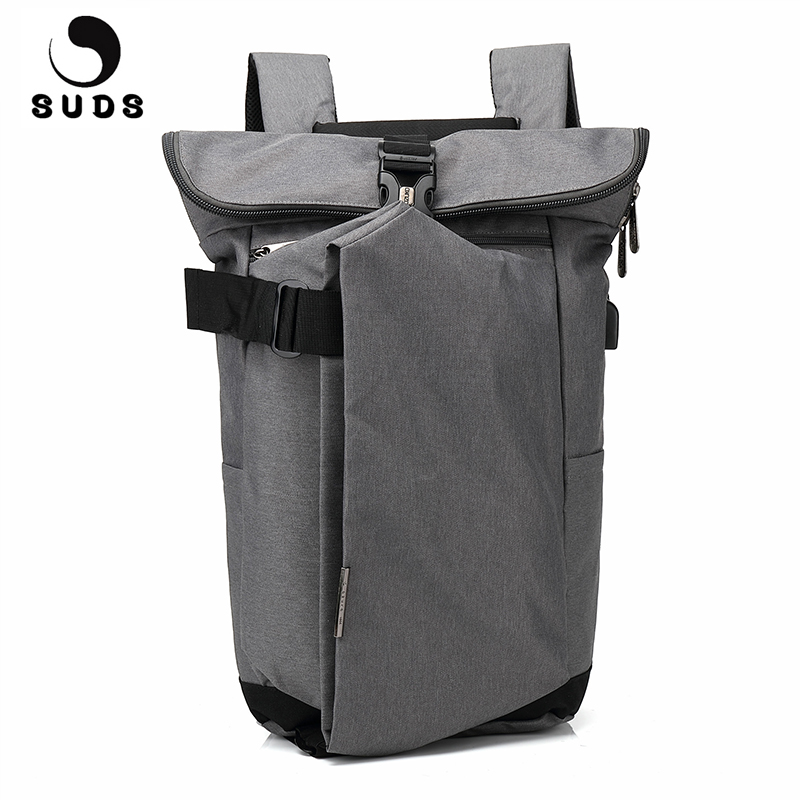 SUDS Brand Waterproof Laptop Backpack Men External USB Charge Notebook Male Backpack Large Capacity School Bags Mochila Escolar voyjoy t 530 travel bag backpack men high capacity 15 inch laptop notebook mochila waterproof for school teenagers students