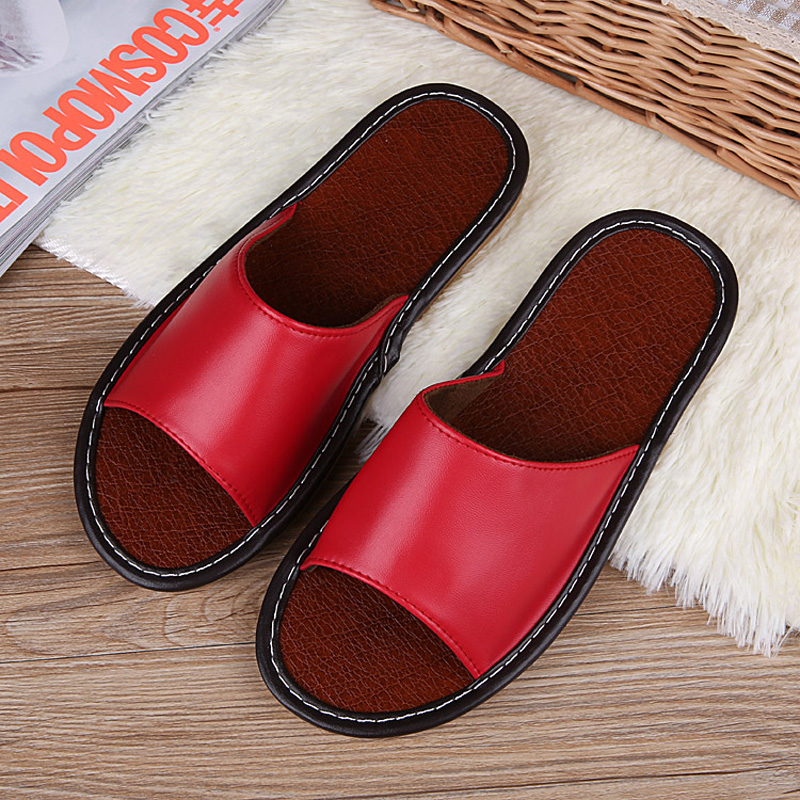 STONE VILLAGE High Quality Summer Leather Slippers Shoes Non-Slip Indoor Home Slippers Couple Men And Women Slippers Shoes 3