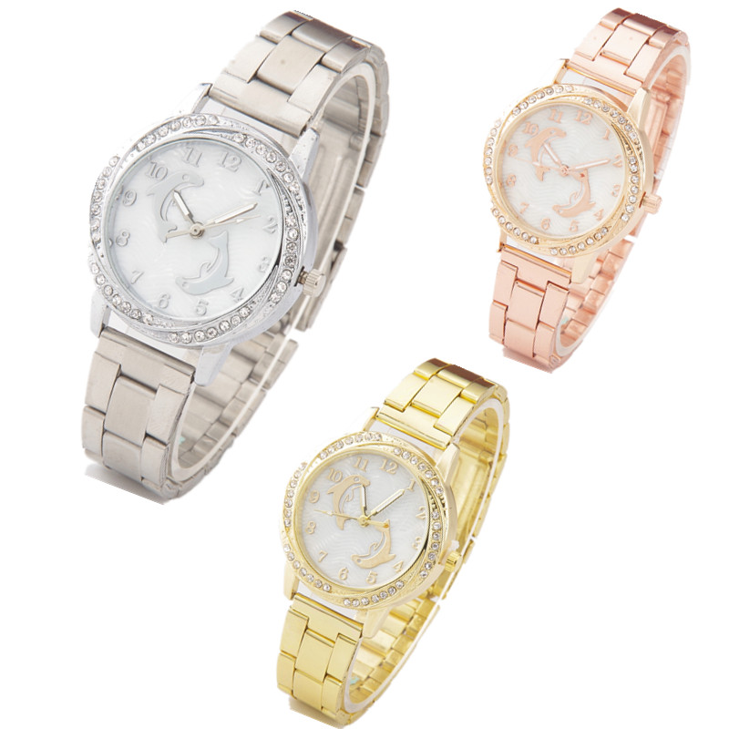 Top Brand Fashion Women Watch Luxury Stainless Steel Dolphin Ladies Quartz Wristwatch Relogio Feminino Dames Horloge Dropship