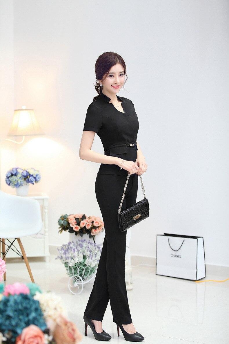 Новые летние классический формальный дизайн брючные костюмы профессиональные деловые костюмы куртки и брюки женские офисные брюки костюм с пиджаком - Цвет: Black
