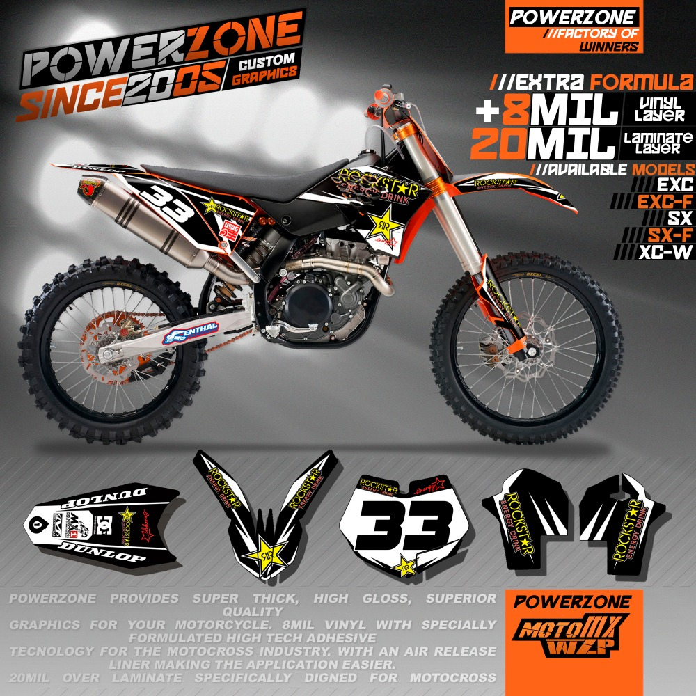Customizable Team Graphics Backgrounds Decals 3M Stickers Rock Style Kits For KTM SX SXF EXC XCW 125 250 450 530 2005 -2018 0322 star new team graphics with matching backgrounds fit for ktm sx sxf 125 150 200 250 350 450 500 2011 2012