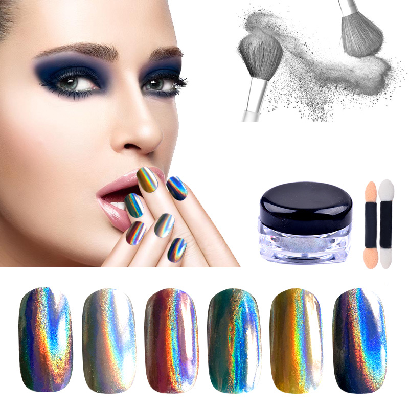 Hot 1 g / box Holographic Nail Art Glitter Bubuk Shiny Rainbow Pigmen - Nail art