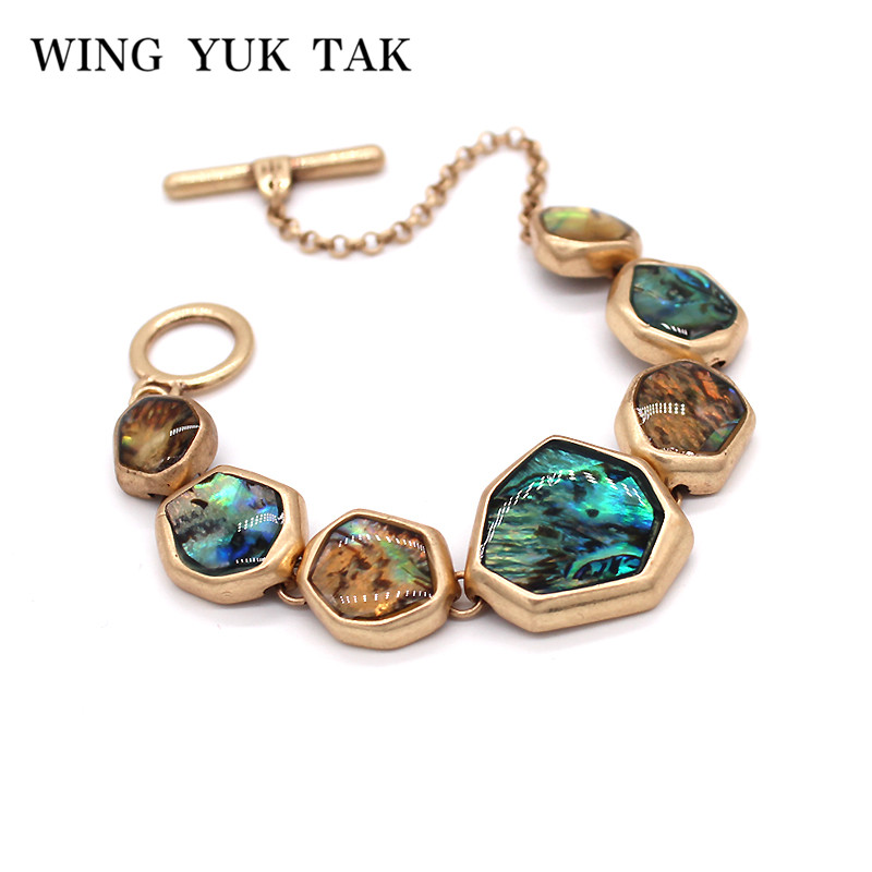 wing yuk tak Geometric Vintage Shell Bracelet For Women Bohemian Charms Bracelets Femme Jewelry Gift in Charm Bracelets from Jewelry Accessories