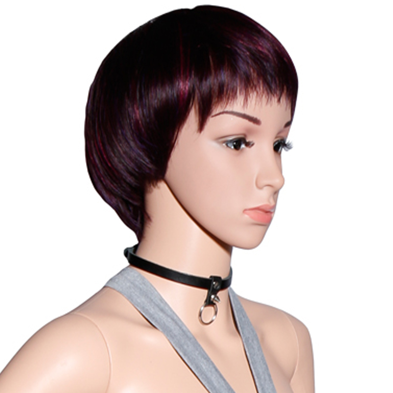 FASHION Women Neck Ring Sexy Collar Straps Double Faced Chaplains  Rivet Leather Belt Ring Choker For Free Shipping