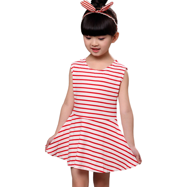 785c379d0 Latest Kids Girls O Neck Sleeveless One Piece Dress Casual Striped ...