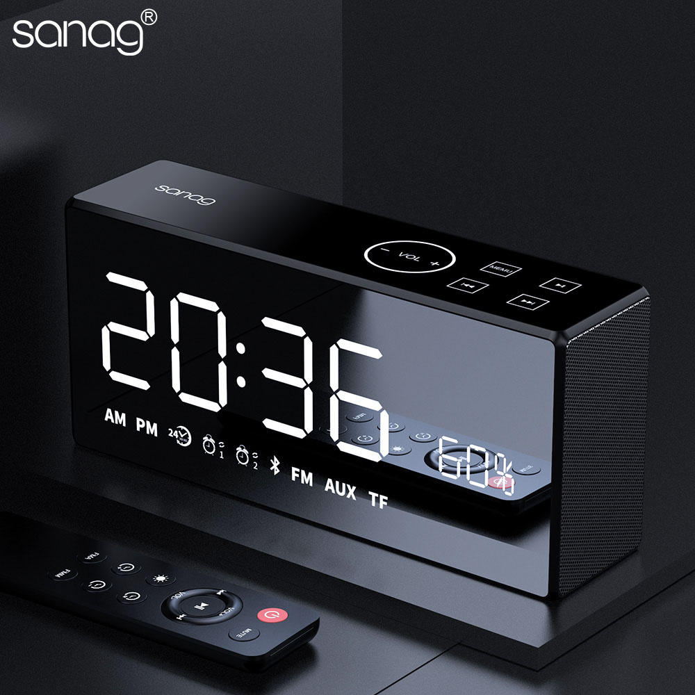 Sanag X9 Bluetooth Metal Portable Super Bass Wireless Mirror Remote Control Speaker 3D Digital Sound Loudspeaker
