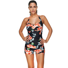 One Piece Swimsuit Shorts Flat Flower Swimwear Women Bathing Suit Backless Swim Wear 2019 New Push Up Swimming Suit For Women