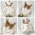 Розовый прекрасный средний-икра бальные платья pageant платье для маленьких детей блеск милый цветок девочки платья с блестками лук детские партии платья