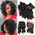 8A Peruvian Deep Wave With Closure 3 bundles Hair Weave With 1 Lace Closure Cheap peruvian Virgin Human Hair weave bundles