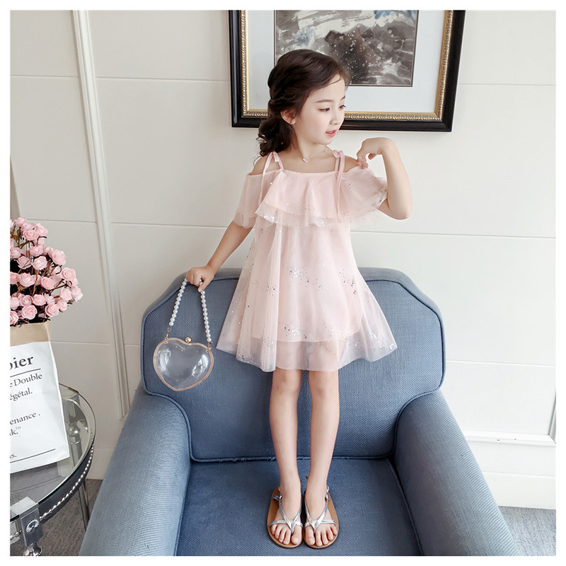Princess Girls Sequin Tulle Off Shoulder Halter Pink Color Clothes Party Pretty Kids Baby Ins Hot Fashion Summer Dress