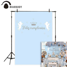Allenjoy photography backdrops blue pink little angel Happy birthday party background photocall baby shower photobooth photo цена в Москве и Питере