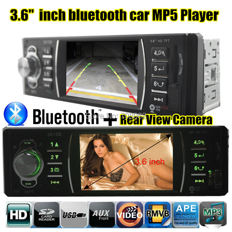 3.6 inch 1080P HP Movie Player 12V Car radio bluetooth MP5 MP3 Audio Player Support Rear View Camera USB/SD MMC Port In-Dash new 7 inch 2din bluetooth car radio video mp5 player auto radio fm 18 channel hd 1080p in dash remote control rear view camera