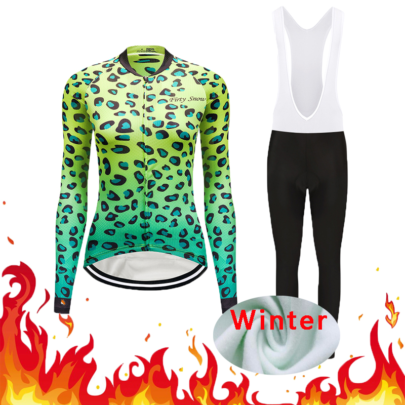 Winter Thermal Fleece Women Outdoor Cycling Jersey Gel Pad Trousers Sets Female Mountain Bike Clothing Kit Bicycle Clothes Suits