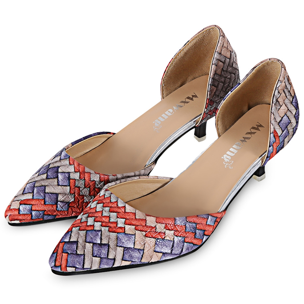 Spring Summer Pointed toe Low Heels Shoes Women Sexy Thin Heels Weaving Pattern Print Womens Pumps Mary Jane High Heels Shoes new 2017 spring summer women shoes pointed toe high quality brand fashion womens flats ladies plus size 41 sweet flock t179
