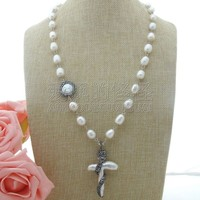 N011705 25'' 37x57MM Rice Pearl Necklace Cross Pearl Pendant