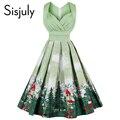 Sisjuly vestidos de época 2017 de la impresión floral 1950 s estilo lindo mujeres del partido de verano dress primavera leeveless corta vestidos de época